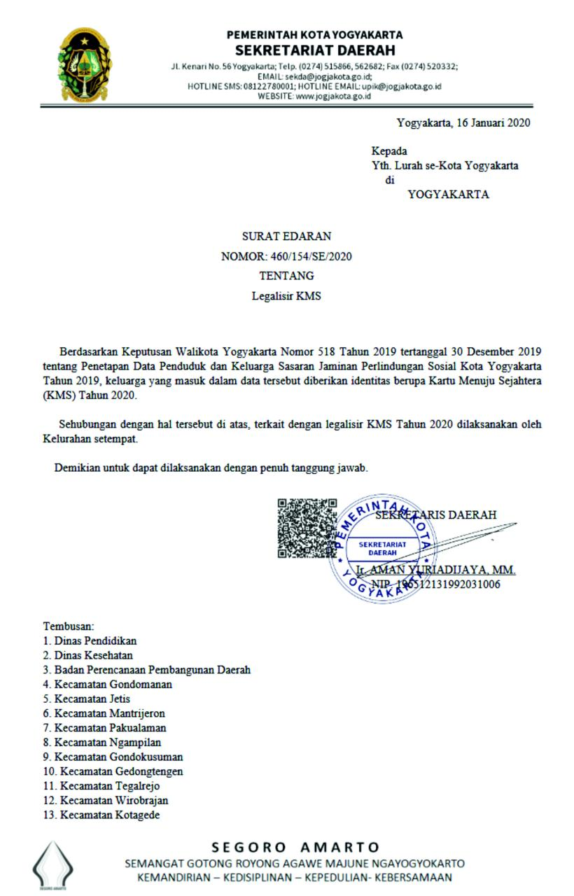 Surat Edaran Sekda Kota Yogyakarta Nomor : 460/154/SE/2020 Tentang Legalisir KMS Tahun 2020